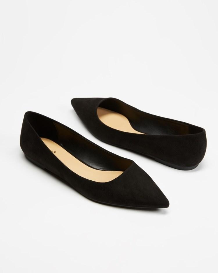 SPURR Allie Flats Ballet Black Microsuede