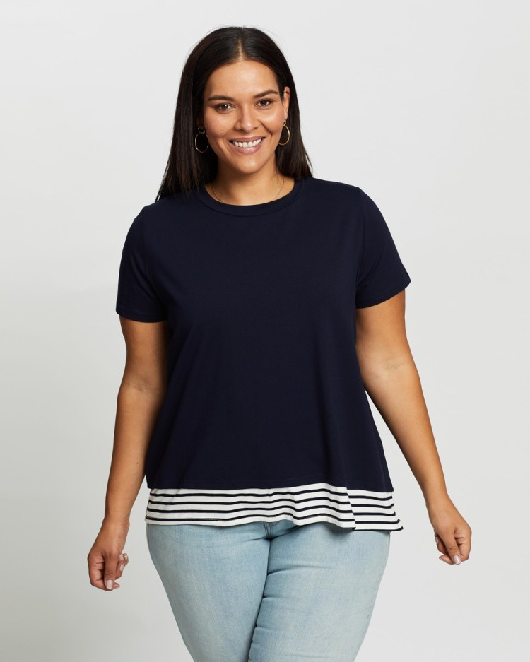 Atmos&Here Curvy Yvonne Layered Tee T-Shirts & Singlets Navy With Stripe Contrast
