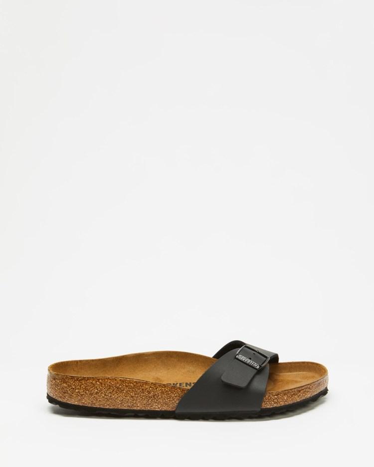 Birkenstock Madrid Birko Flor Regular Slides Womens Sandals Black Birko-Flor
