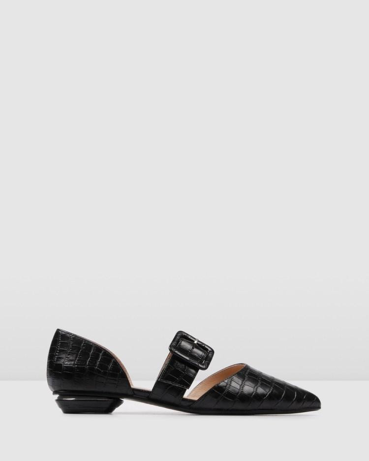 Jo Mercer Clover Dress Flats Ballet BLACK CROC
