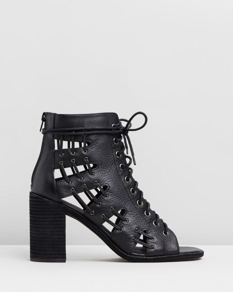 Mollini Jayman Leather Block Heels Sandals Black Leather