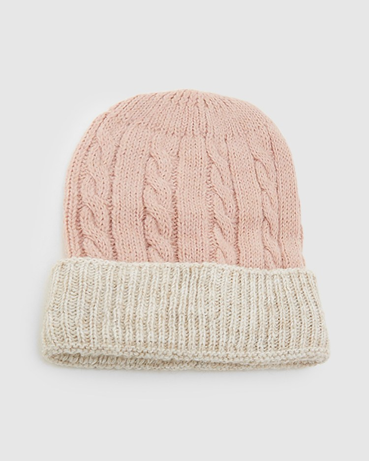 Kate & Confusion Cable Knit Beanie Hats Pink