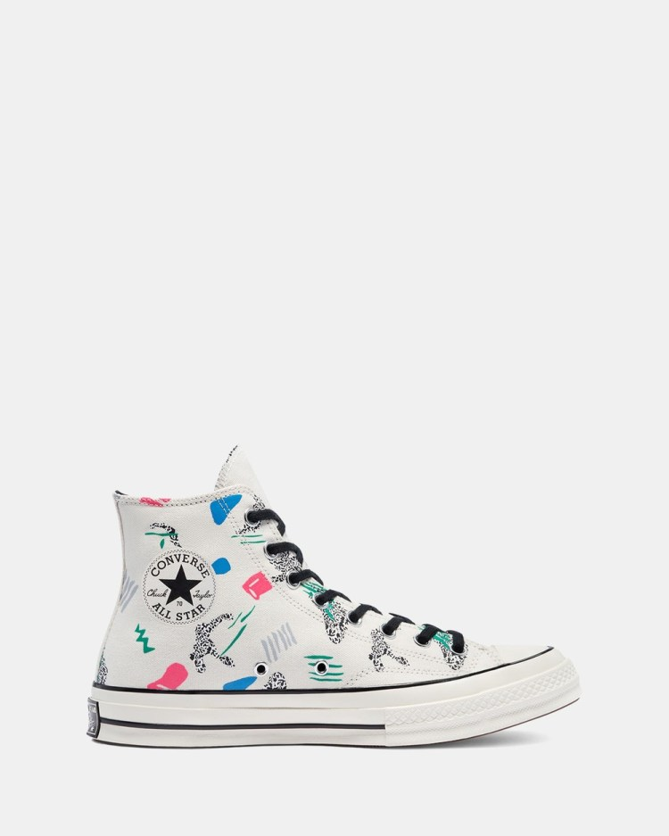 Converse Chuck 70 80's Archive Print Unisex High Top Sneakers Egret, Court Green & Black