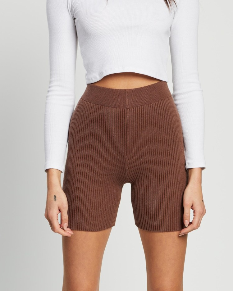 4th & Reckless Harper Knit Shorts High-Waisted Mocha