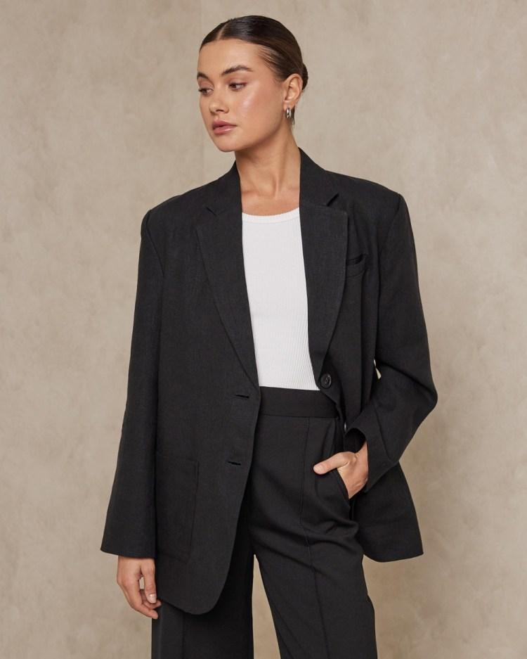 AERE Oversized Linen Blazer Blazers Black