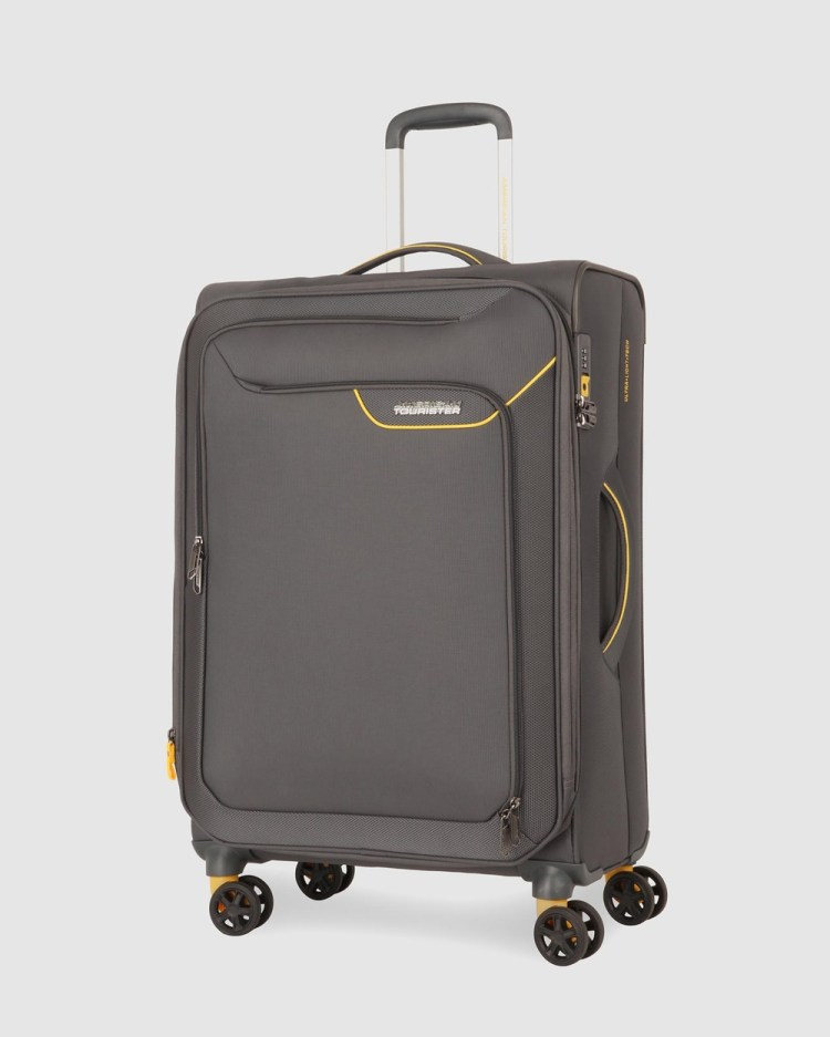 American Tourister Applite 4Security Spinner 71 27 EXP TSA Suitcase Travel and Luggage Lightning Grey 71-27-