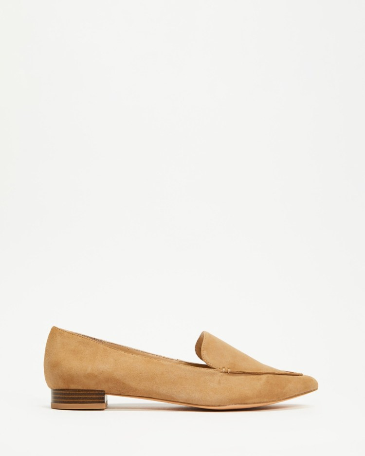 Atmos&Here Cayley Leather Loafers Flats Camel Suede