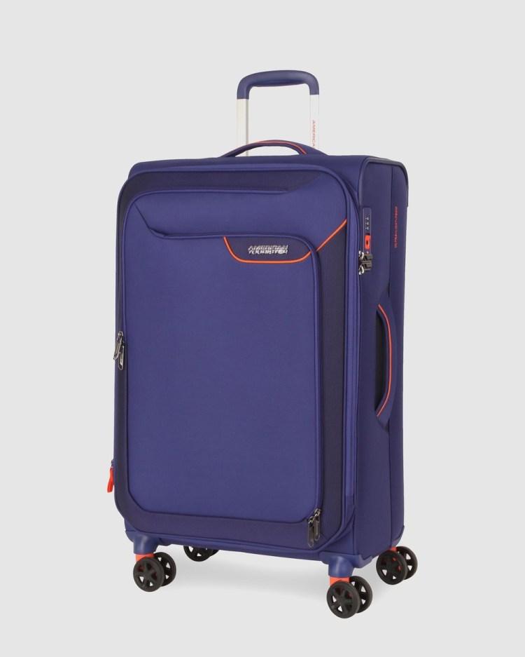 American Tourister Applite 4Security Spinner 82 31 EXP TSA Travel and Luggage Bodega Blue 82-31