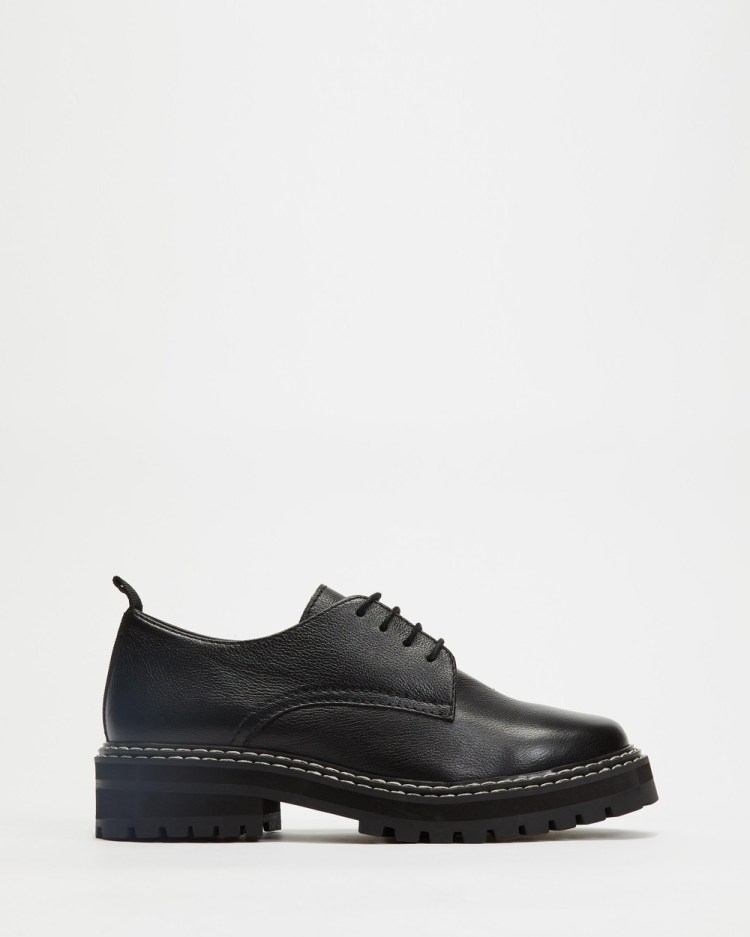 AERE Chunky Sole Leather Derbies Flats Black Full Grain Leather