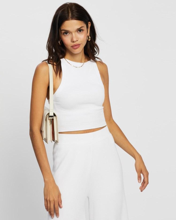 AERE Organic Cotton Back Detail Tank T-Shirts & Singlets White