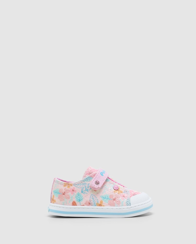 Pablosky Floral Canvas Self Fastening 9617 Infant Sneakers Pink Glitter Self-Fastening