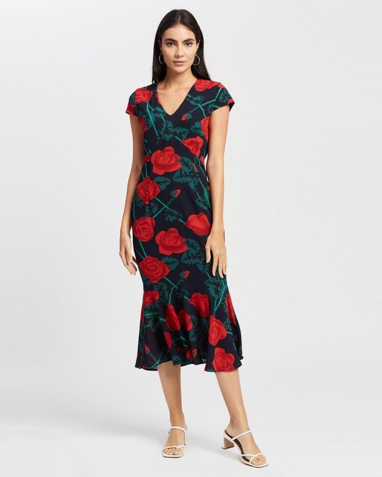 Romance by Honey and Beau Chantel Frill Dress Printed Dresses Print