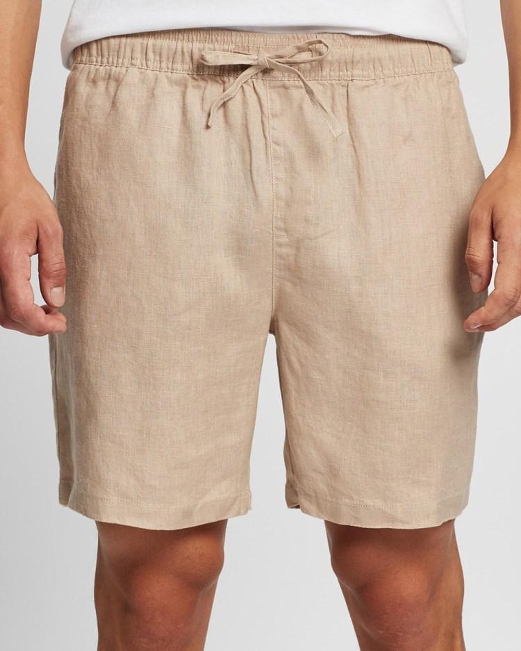 AERE Linen Pull On Shorts Sesame