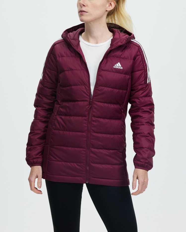 adidas Performance Essentials Light Down Hooded Parka Coats & Jackets Victory Crimson