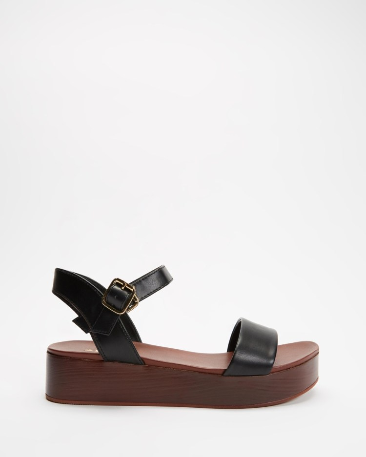 ALDO Cobbswell Ankle Strap Sandals Wedges Brown & Black