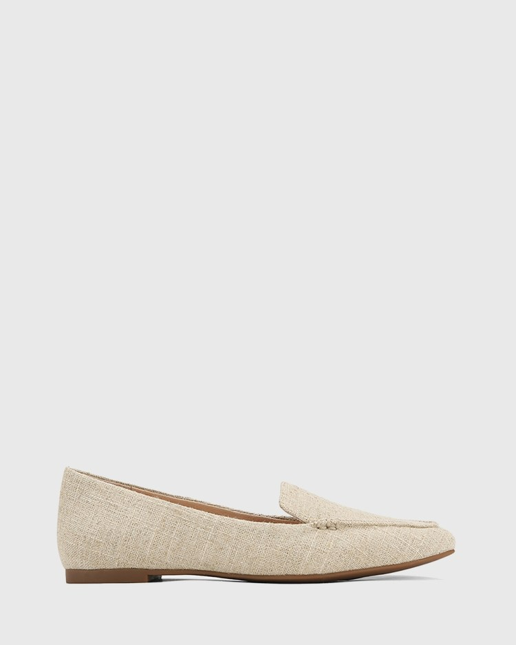Wittner Pamina Linen Pointed Toe Loafers Flats Beige