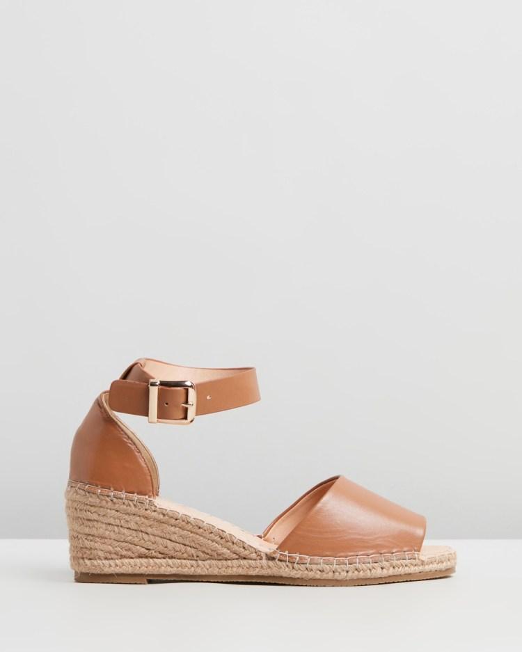 Human Premium Helene Leather Wedge Heels Wedges Tan Leather