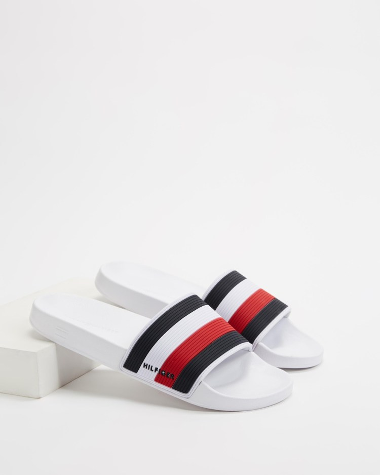 Tommy Hilfiger Essential Corporate Pool Slides White