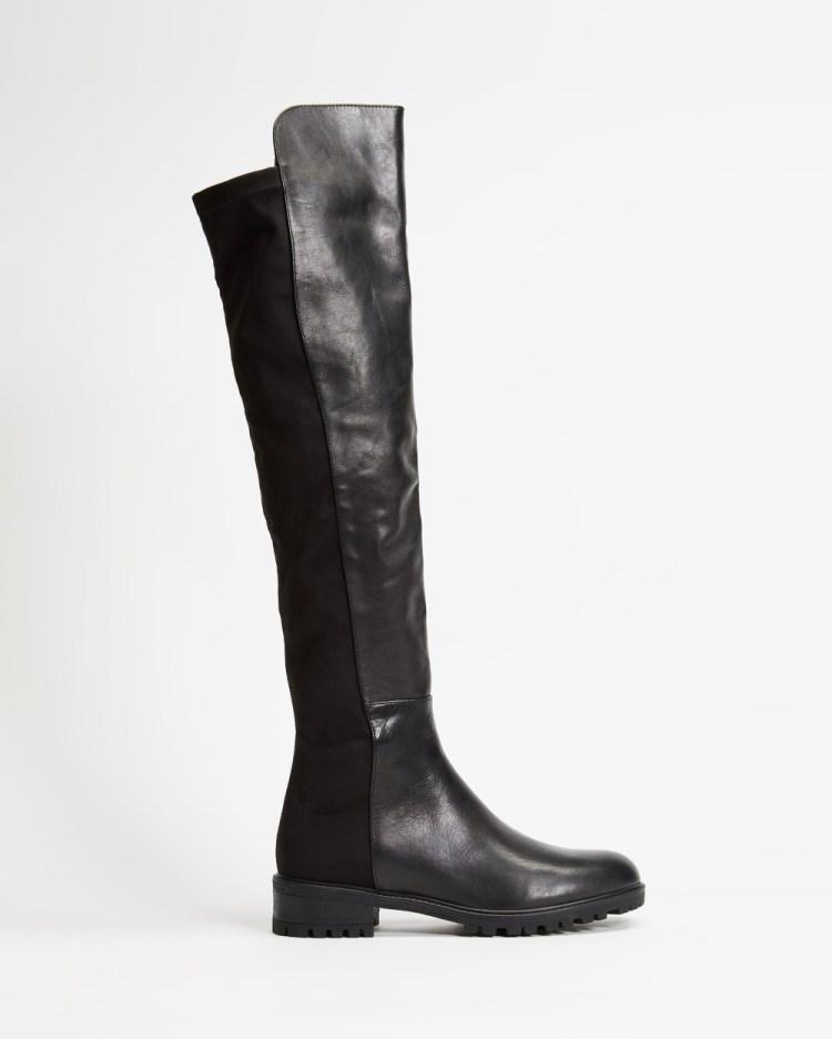 Tony Bianco Presto Boots Black Luxe & Black Micro Flow 100