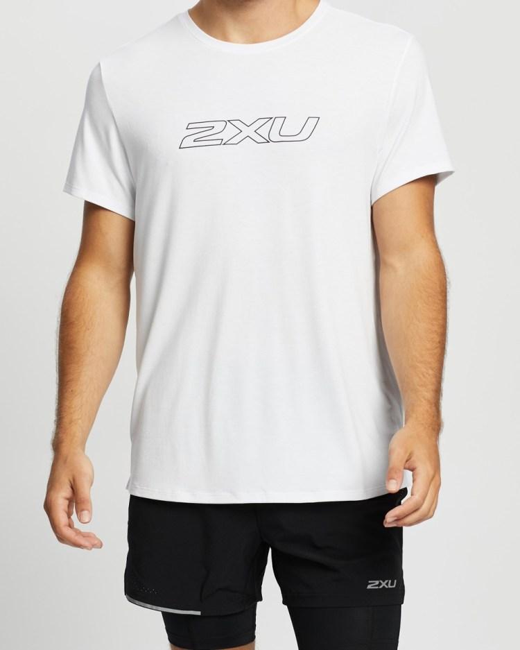2XU Contender SS Tee Short Sleeve T-Shirts White & Black