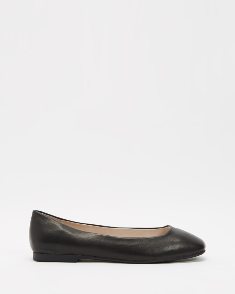Walnut Melbourne Ellery Leather Flats Ballet Black