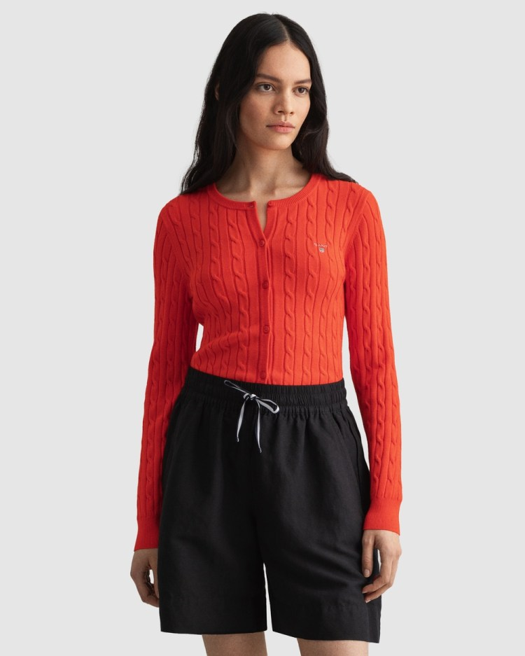 Gant Stretch Cotton Cable Cardigan Jumpers & Cardigans LAVA RED