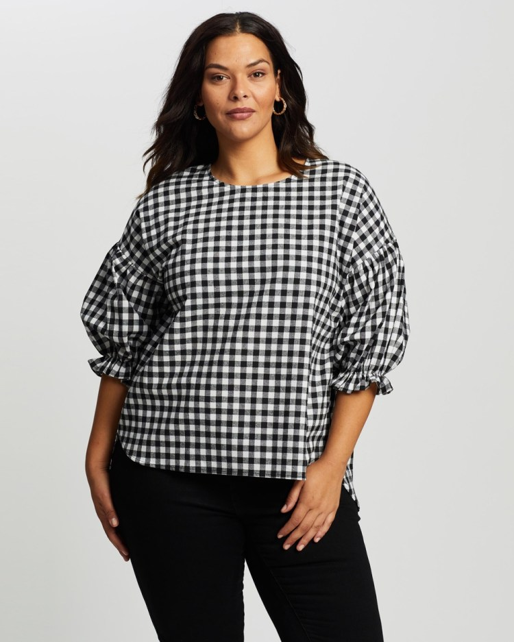 Atmos&Here Curvy Emilia Cotton Blouse Tops Gingham