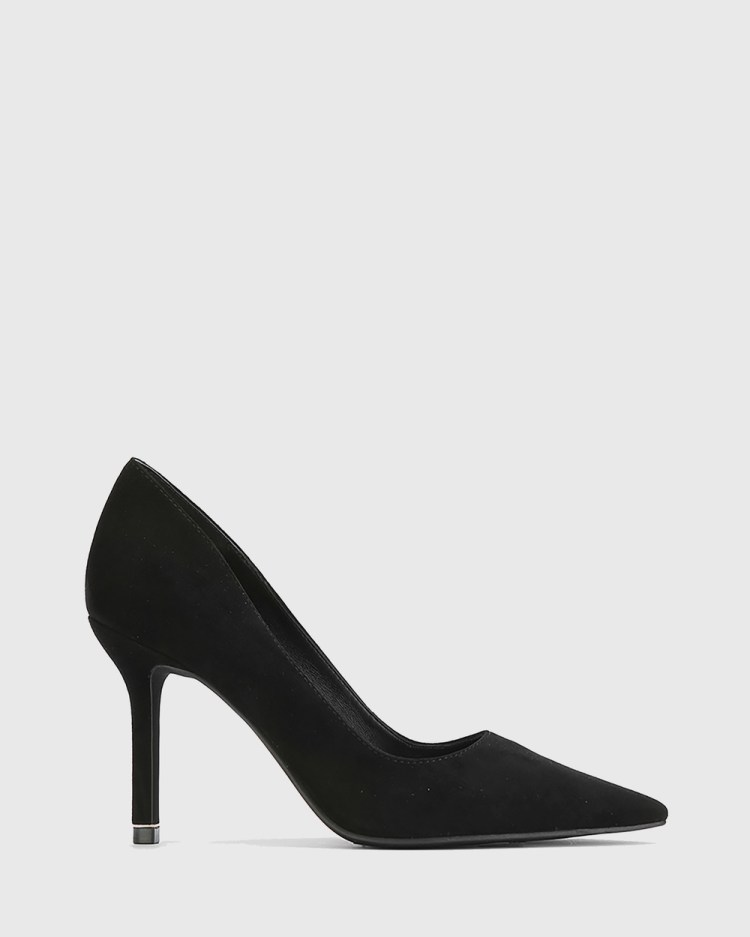 Wittner Quendra Suede Gold Trim Pointed Toe Pumps All Black