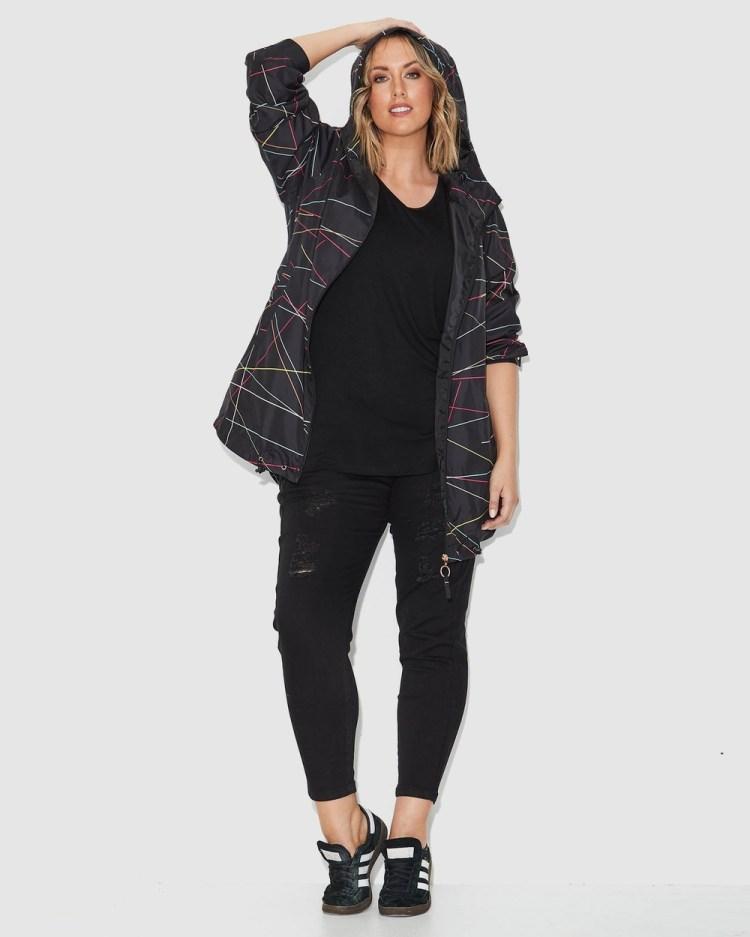 17 Sundays Sticks Print Raincoat Coats & Jackets Black Multi