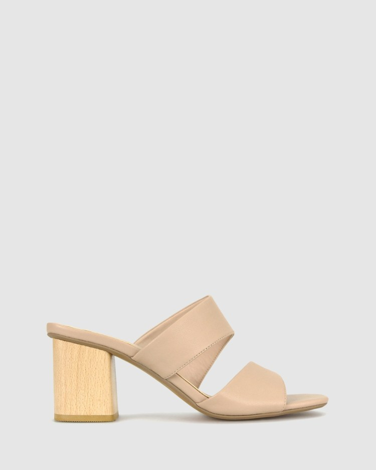 Betts Kiera Block Heel Mules Sandals Nude
