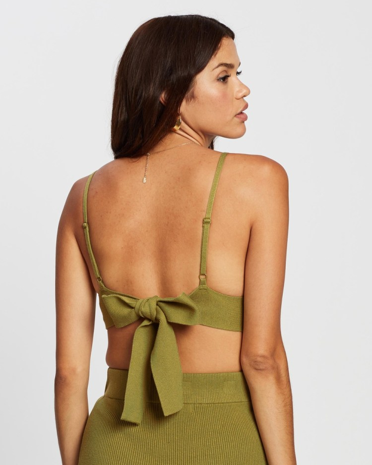 AERE Ribbed Crop Top Cropped tops Olive Oil