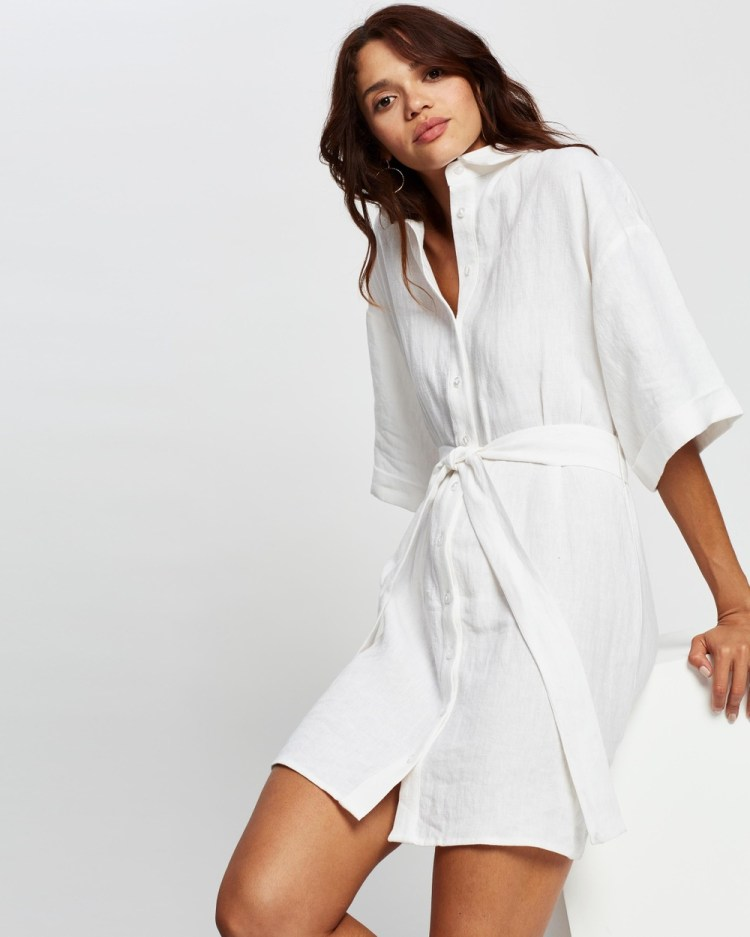 AERE Linen Shirt Dress Dresses White