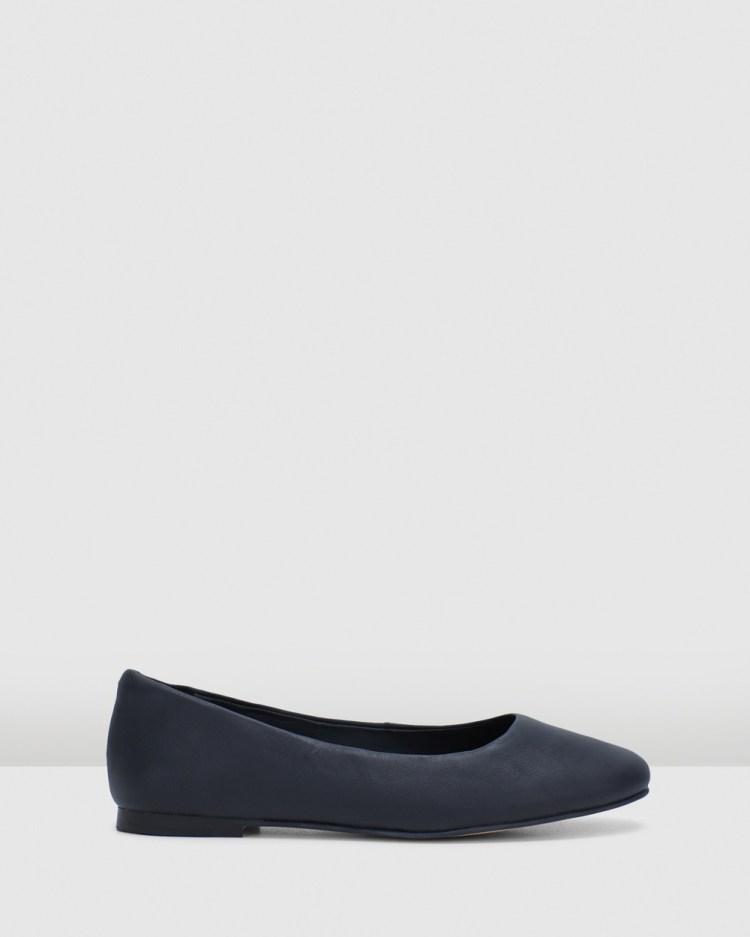 Clarks Pure2 Pump Ballet Flats Black Leather