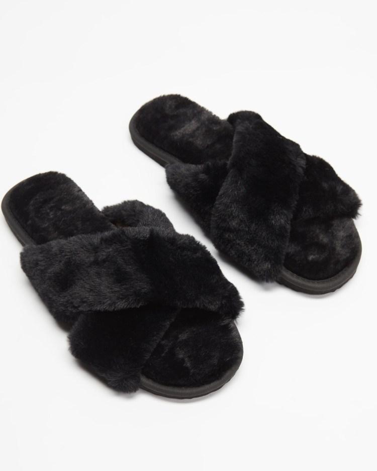 SPURR Cloud Slippers & Accessories Black Fluff
