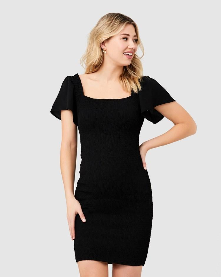 Ripe Maternity Vivian Shirred Dress Dresses Black