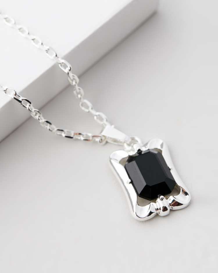 Chained & Able Stone Tag Pendant Necklace Jewellery Silver
