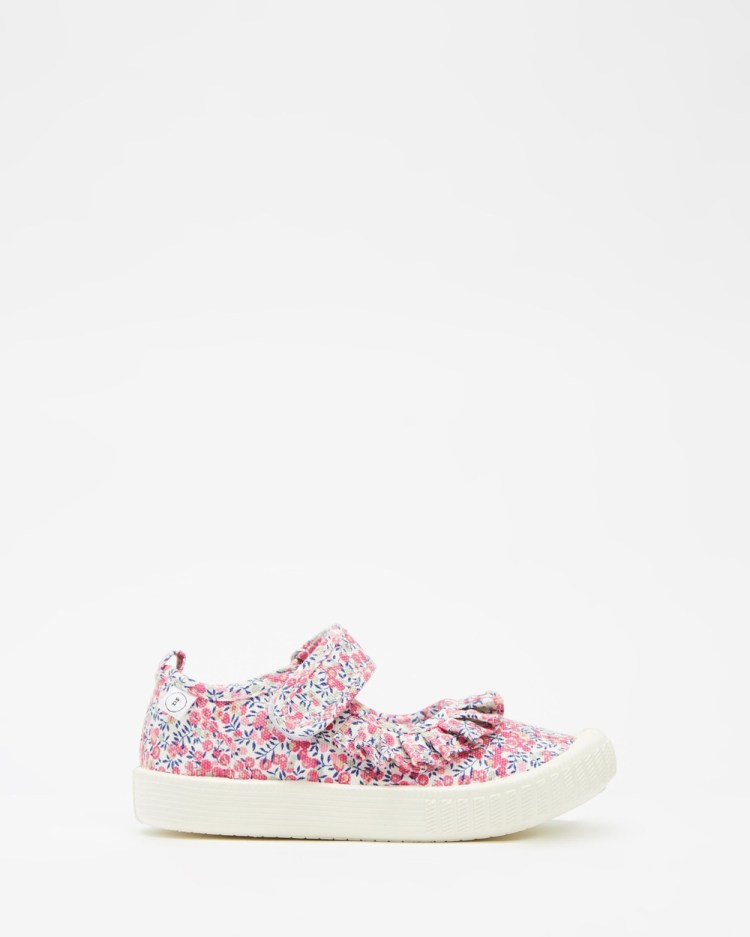 Walnut Melbourne Liberty Mary Jane Frill Canvas Sneakers Kids Wiltshire Bud