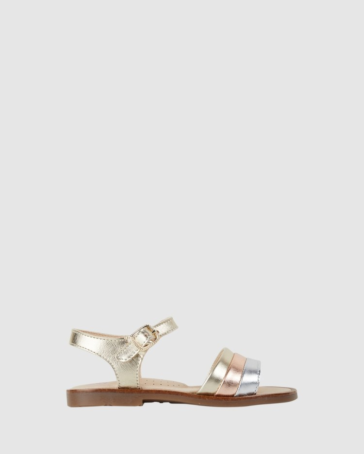 Pablosky Metallic Stripe Sandals Youth Champagne