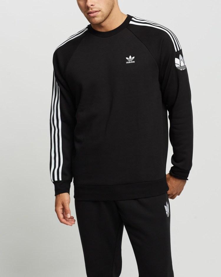 adidas Originals 3D Trefoil 3 Stripes Crew Neck Sweats Black 3-Stripes
