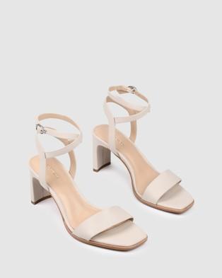 Jo Mercer Natsu Mid Heeled Sandals BONE LEATHER