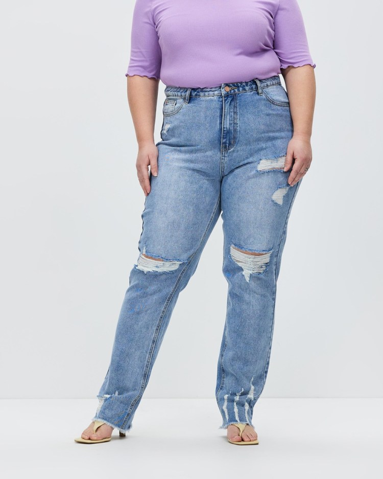 Missguided Curve Ladder Distressed Recycled Slim Straight Jeans Blue