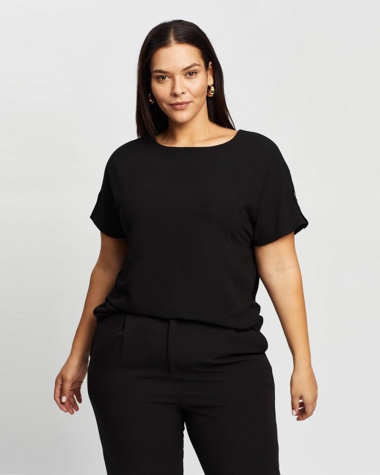Atmos&Here Curvy Bianca Button Tab Woven Tee T-Shirts & Singlets Black