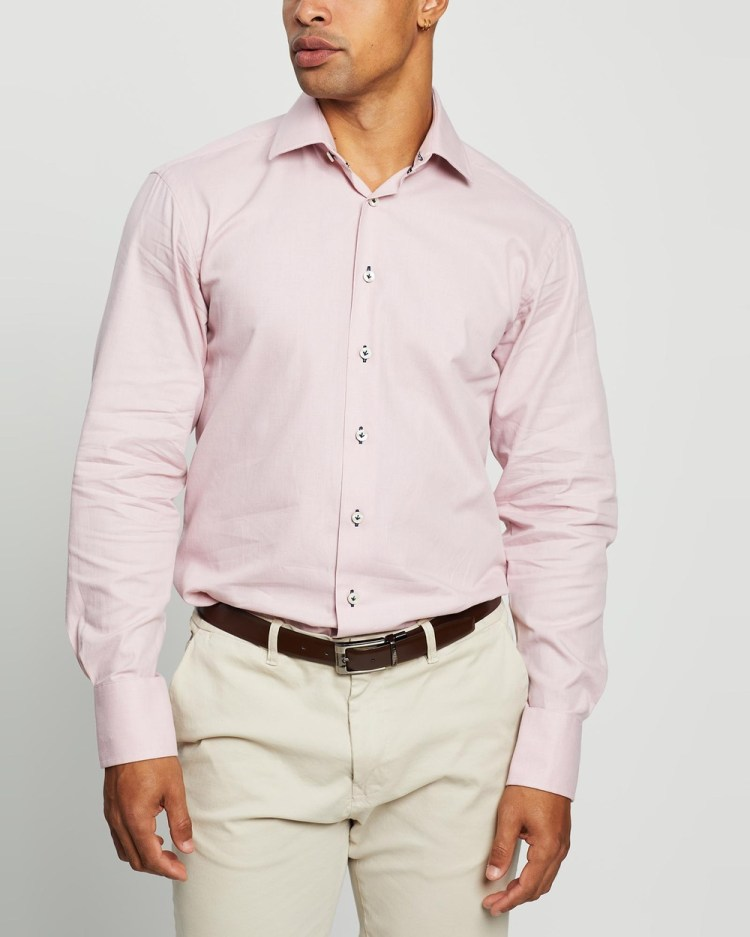 3 Wise Men The Lower Tailored Shirt Shirts & Polos Light Pink