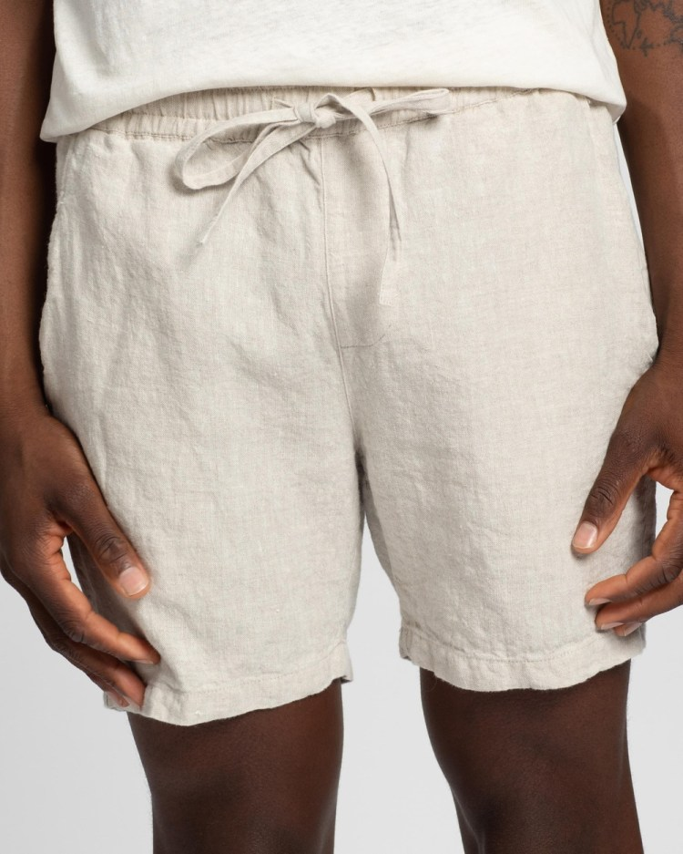 AERE Linen Pull On Shorts Pale Oat