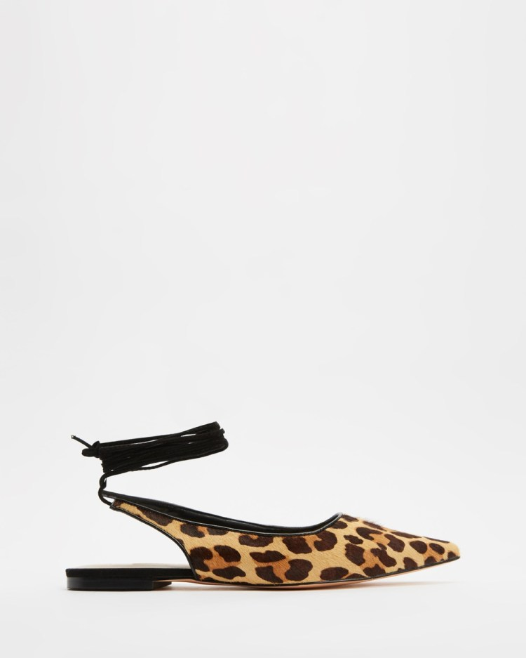 Atmos&Here Kir Leather Ankle Tie Flats Sandals Leopard Ponyhair