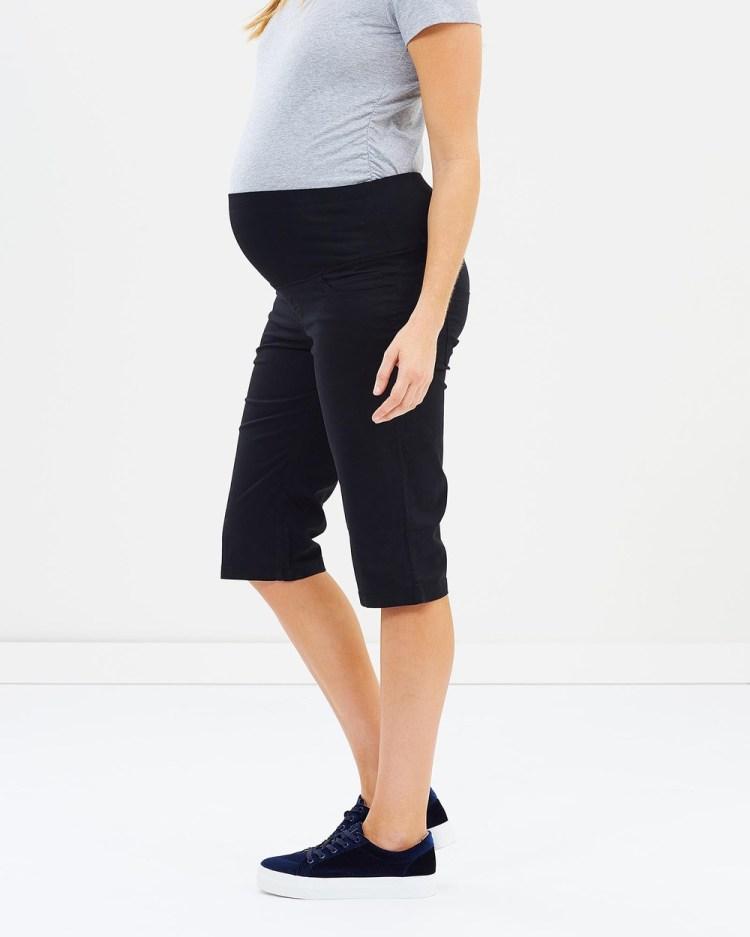 Angel Maternity Capri Pants Shorts Black