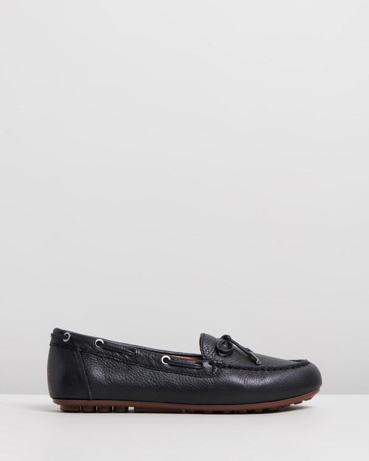 Vionic Virginia Leather Moccasins Flats Black