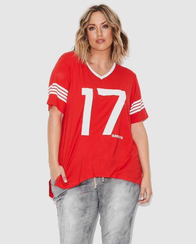 17 Sundays Retro Sports Tee Short Sleeve T-Shirts Red