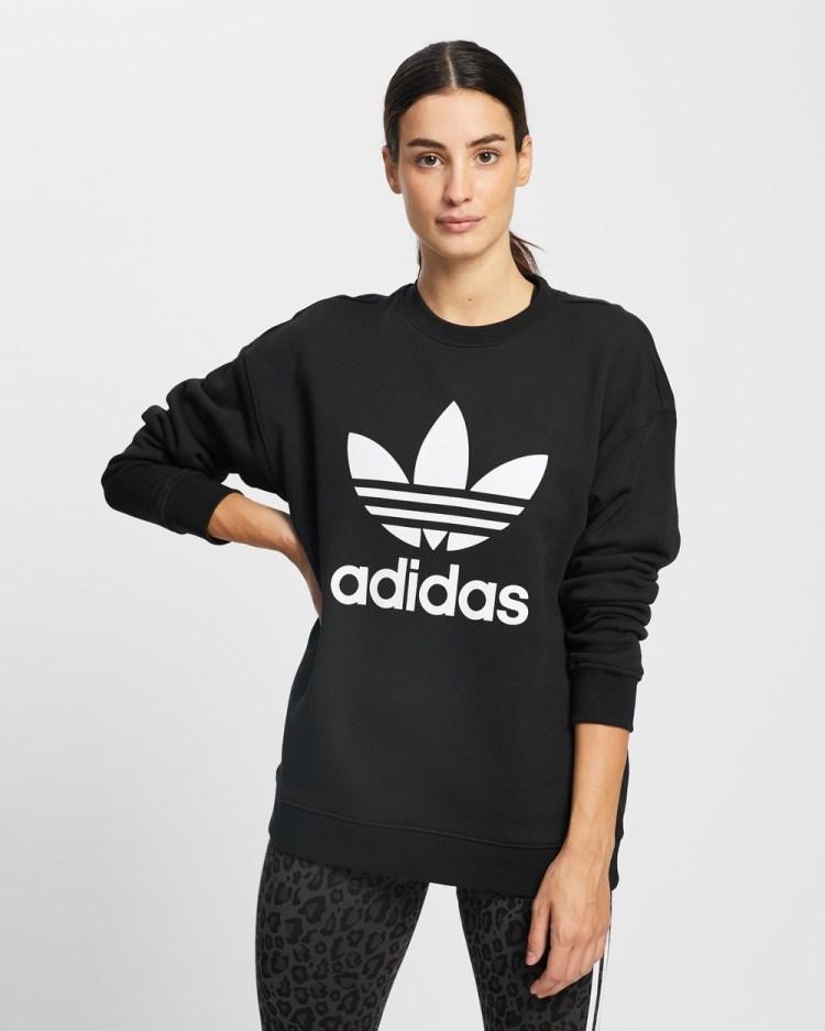 adidas Originals Trefoil Crew Sweatshirt Sweats Black & White