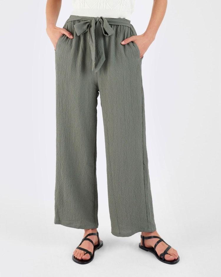 ids Bella Tie Up Pants Olive